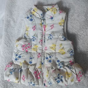 Other - Baby girl floral bow puffy zipper vest 18m